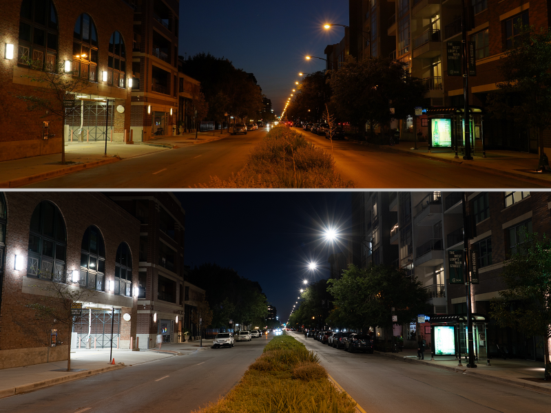 Chicago lighting before and after
