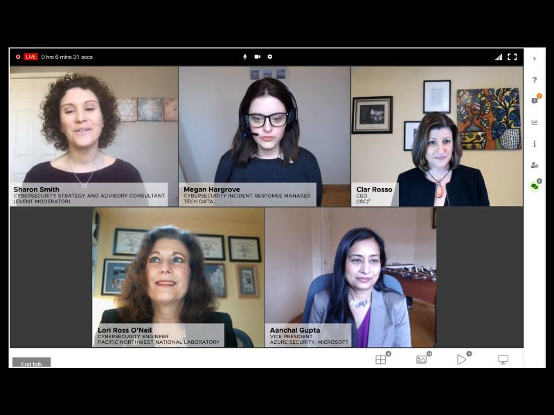 Panel of women cybersecurity leaders presented at (ISC)² International Women's Day Webinar