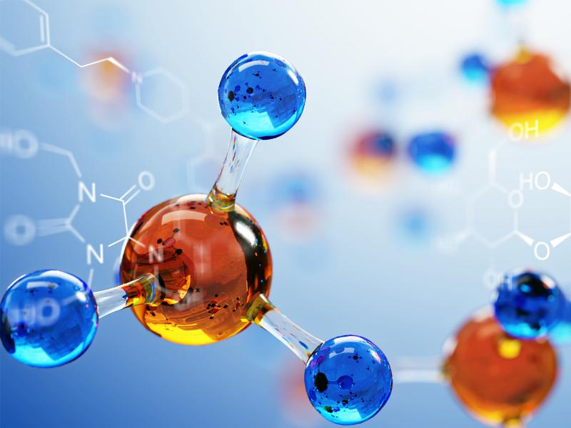 photo of orange spheres connected to blue spheres like molecule