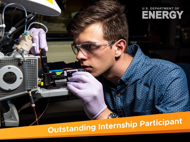 PNNL intern Michael Hewitt was recognized by DOE as an Outstanding Intern