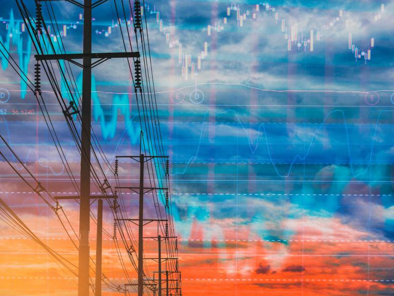 Artwork of power lines with transactions